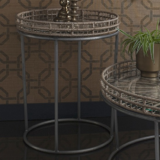 Sennett Glass Side Table Round In Natural With Metal Frame
