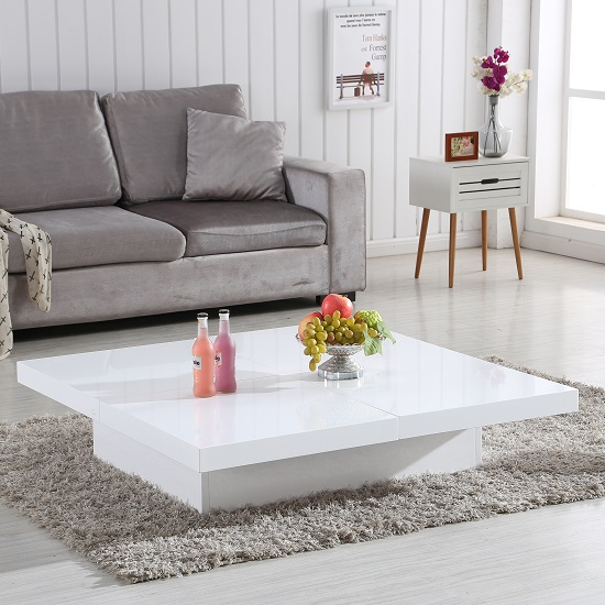 Annika White Gloss Coffee Table: Grande Storage Coffee Table In White High Gloss 28944