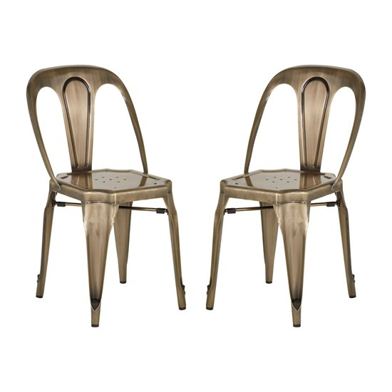 Dschubba Brass Metal Dining Chairs In Pair