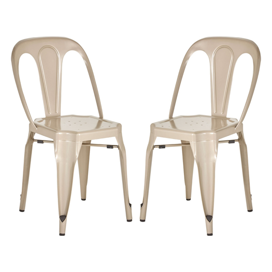 Dschubba Champagne Metal Dining Chairs In Pair