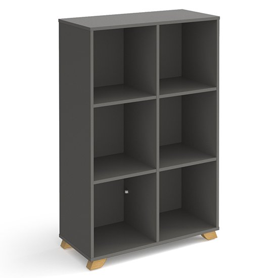 Grange High Wooden Shelving Unit In Onyx Grey And 6 Shelves
