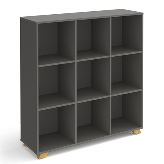 Grange High Wooden Shelving Unit In Onyx Grey And 9 Shelves