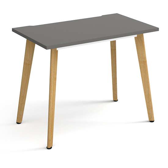Grange Wooden Laptop Desk In Onyx Grey With Oak Legs