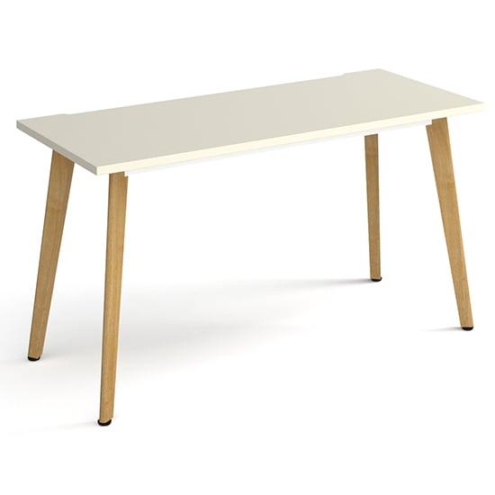 View Grange large wooden laptop desk in white with oak legs
