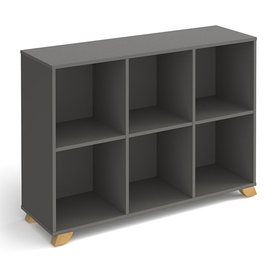 Grange Low Wooden Shelving Unit In Onyx Grey And 6 Shelves