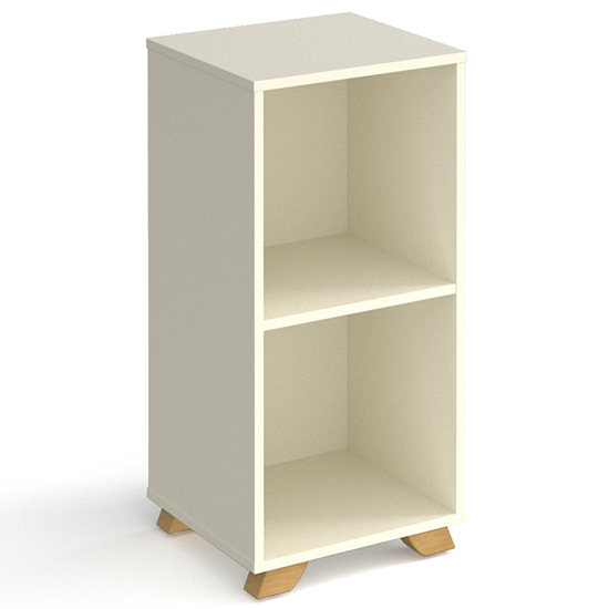 Grange Low Wooden Shelving Unit In White And 2 Shelves