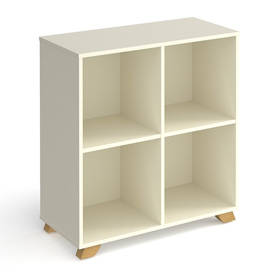 Grange Low Wooden Shelving Unit In White And 4 Shelves