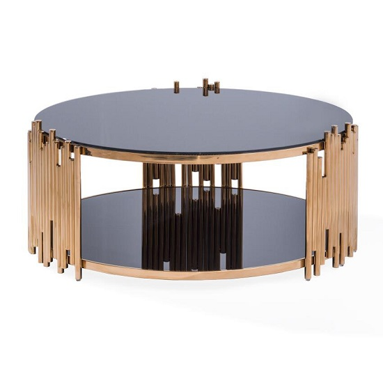 Granny Glass Coffee Table Round In Black With RoseGold Frame