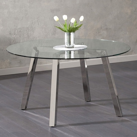 Grant Round Glass Dining Table In Clear And Stainless Steel Legs
