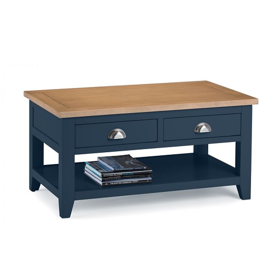 Grecian Wooden Coffee Table In Midnight Blue And Oak Top