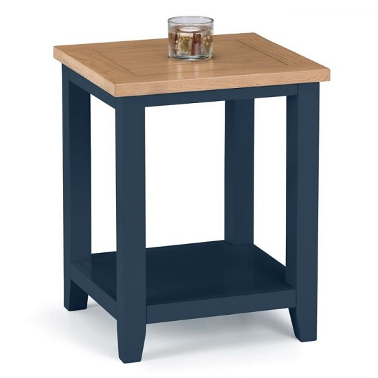 Grecian Wooden Lamp Table In Midnight Blue And Oak Top
