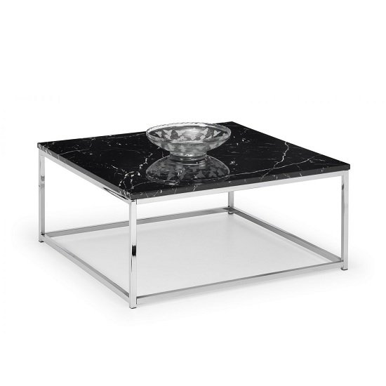 Angeles Gloss Black Marble Effect Coffee Table With Steel Frame