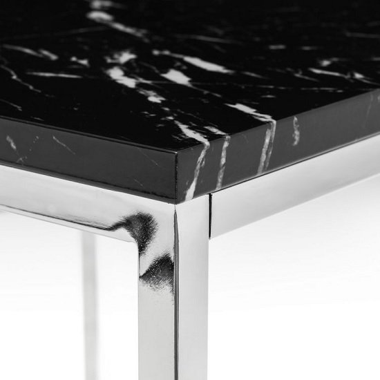 Angeles Gloss Black Marble Effect Coffee Table With Steel Frame_2