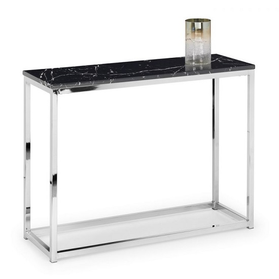 Angeles Gloss Black Marble Effect Rectangular Console Table