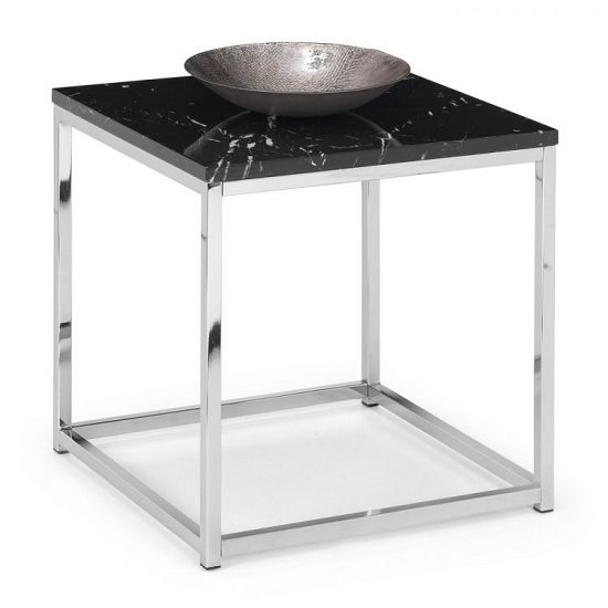 Angeles Gloss Black Marble Effect Square Lamp Table