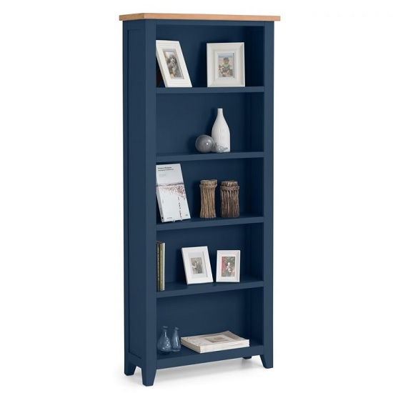 Grecian Wooden Tall Bookcase In Midnight Blue And Oak Top