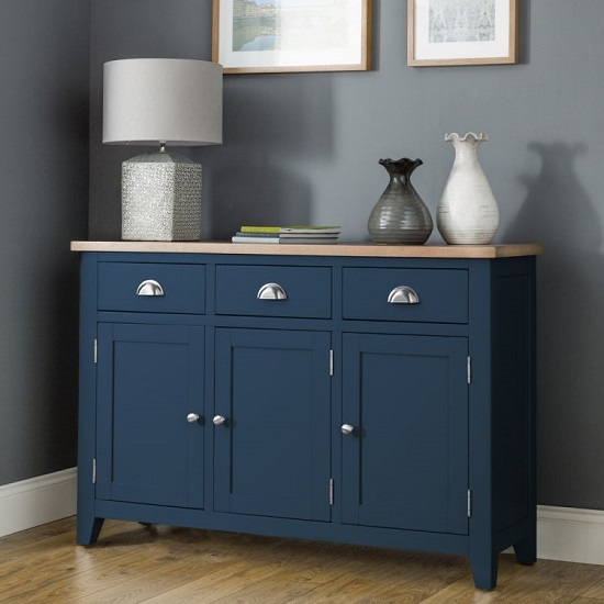 Grecian Wooden Sideboard In Midnight Blue With Oak Top