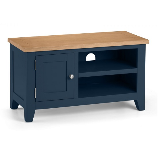 Grecian Wooden TV Stand In Midnight Blue With Oak Top