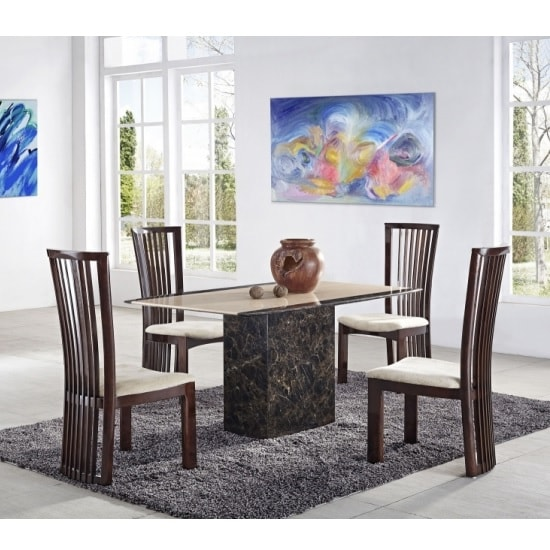 Grecian Marble Dining Table In Cream With 4 Fabric Chairs