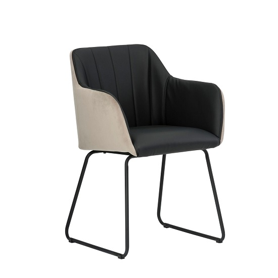 Greco Arm Chair In Black Faux Leather And Taupe Velvet_1