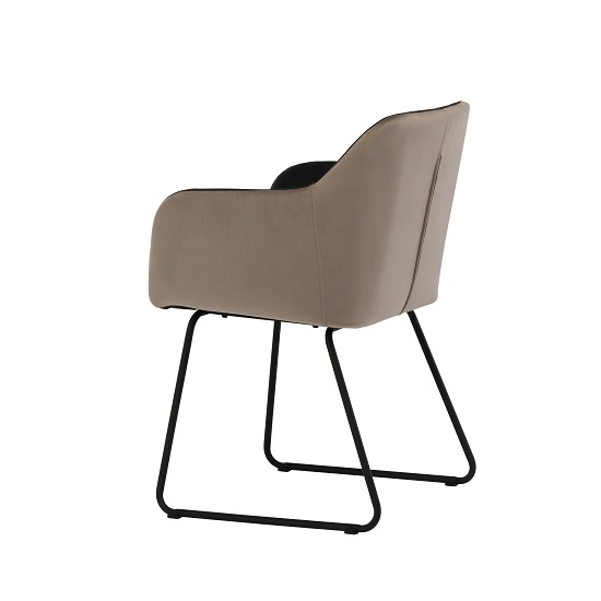Greco Arm Chair In Black Faux Leather And Taupe Velvet_2