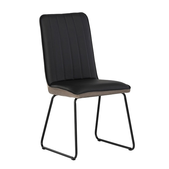 Greco Dining Chair In Black Faux Leather And Taupe Velvet
