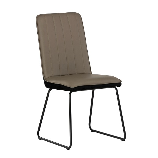 Greco Dining Chair In Taupe Faux Leather And Black Velvet