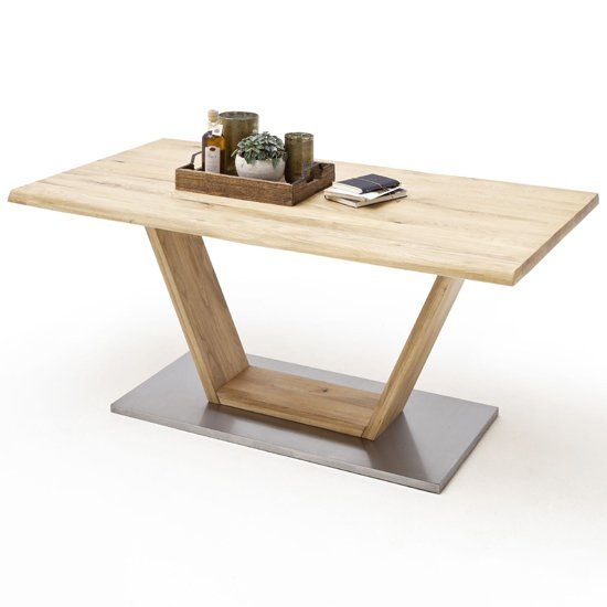 Greta Extra Large V-Leg Life Edge Dining Table In Solid Oak