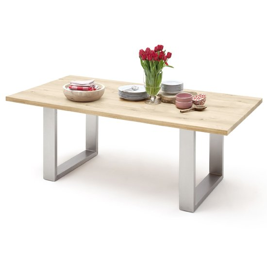Greta Large Skid Straight Edge Dining Table In Solid Oak