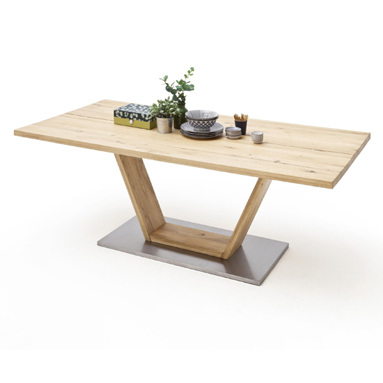 Product photograph showing Greta Medium V-leg Splitted Plate Dining Table In Solid Oak