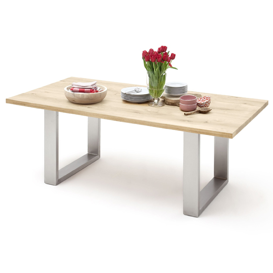 Greta Small Skid Straight Edge Dining Table In Solid Oak
