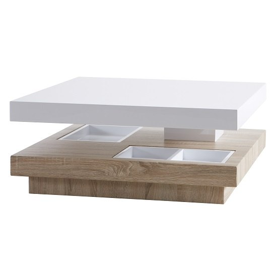 Regent Rotating Coffee Table Square In White High Gloss And Oak