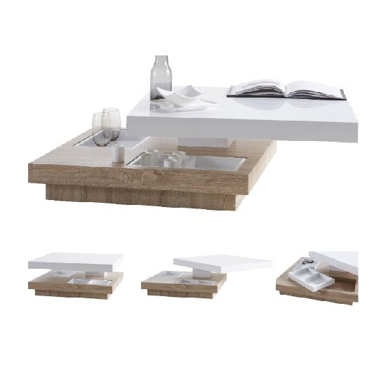 Regent Rotating Coffee Table Square In White High Gloss And Oak_2