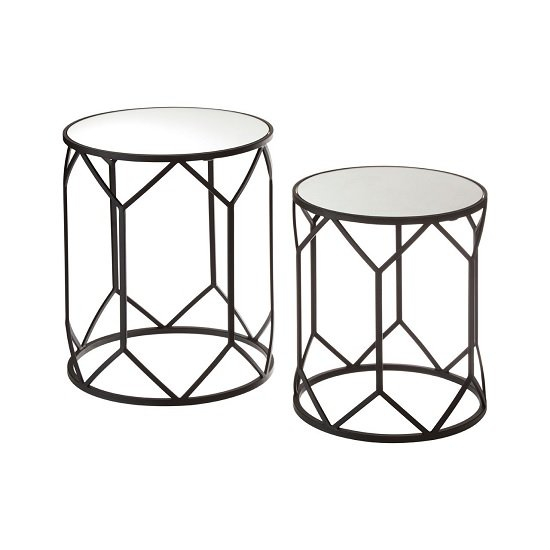 Greven Mirror Tops Side Tables Round In Black Steel Frame