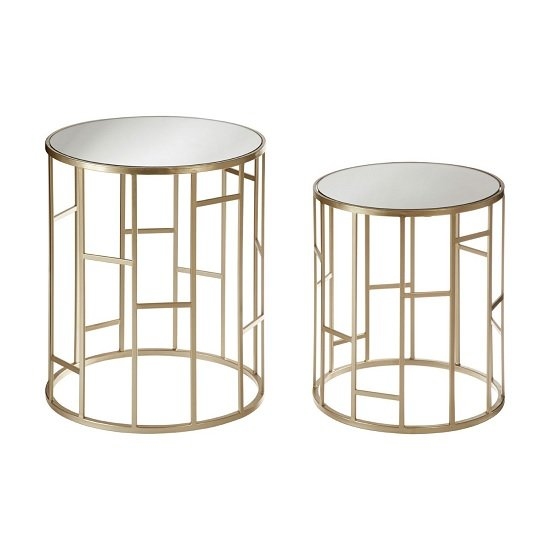 James Mirror Top Set of 2 Accent Tables In Champagne Steel
