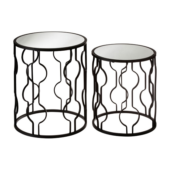 Greven Mirror Top Set of 2 Side Tables With Black Steel Frame