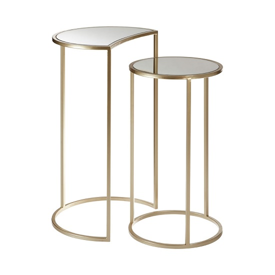 Greven Mirror Top Set of 2 Side Tables In Champagne Steel Frame_2