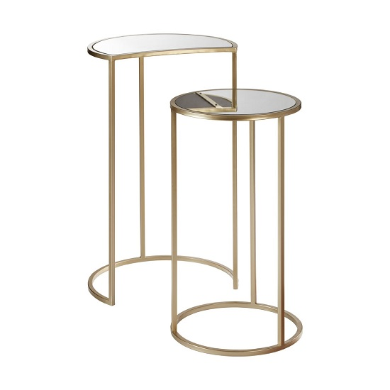 Greven Mirror Top Set of 2 Side Tables In Champagne Steel Frame_3