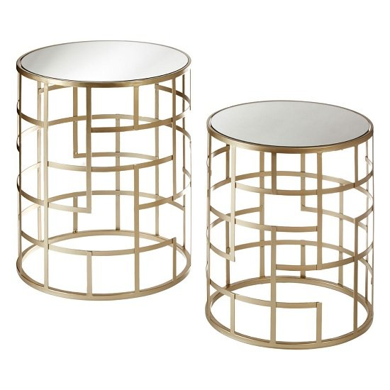 Greven Mirror Top Set of 2 Side Tables Round In Champagne Steel
