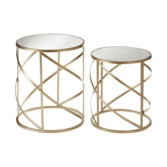 Greven Mirror Top Set of 2 Accent Tables In Champagne Steel