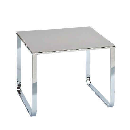 Griffin Side Table Square In Grey Glass With Chrome Legs