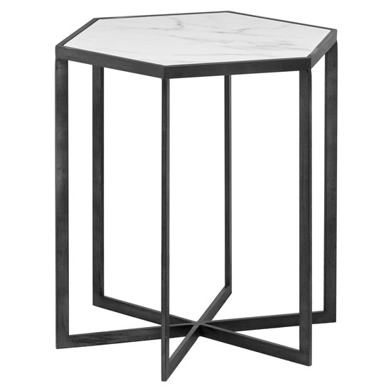 Gripo Marble Hexagonal Side Table In White With Black Metal Base