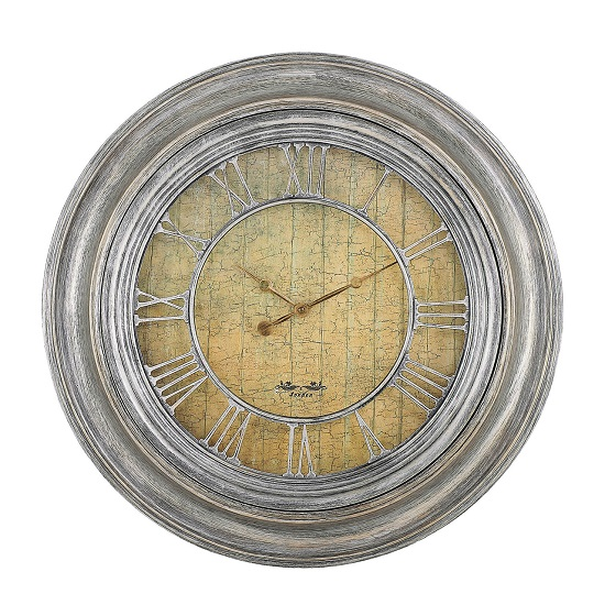 grossi wall clock round in silver finish frame