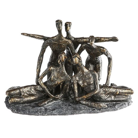 Group Poly Design Sculpture In Antique Bronze And Grey