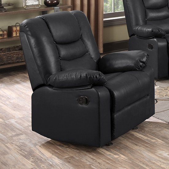 Gruis LeatherGel And PU Recliner Sofa Suite In Black_2