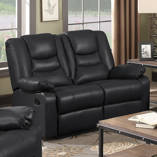 Gruis LeatherGel And PU Recliner Sofa Suite In Black_3