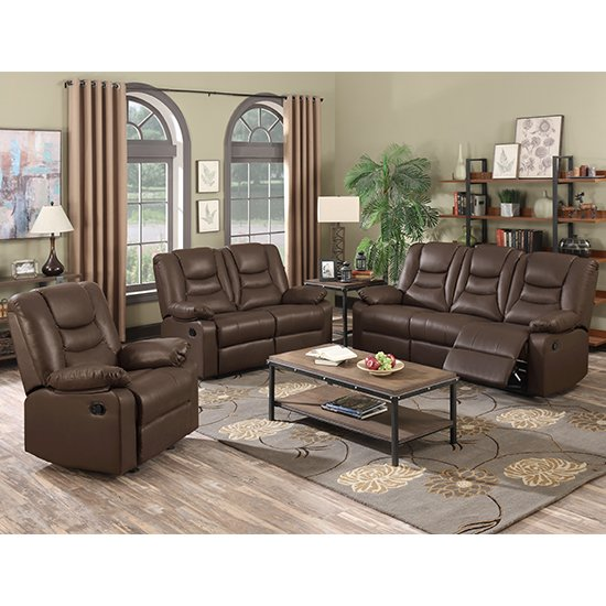 Gruis LeatherGel And PU Recliner Sofa Suite In Dark Chocolate