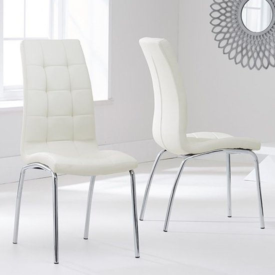Grus Cream Leather Dining Chairs In Pair