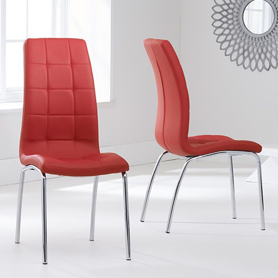 Grus Red Leather Dining Chairs In Pair