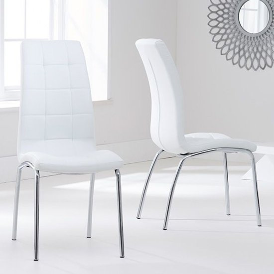 Grus White Leather Dining Chairs In Pair